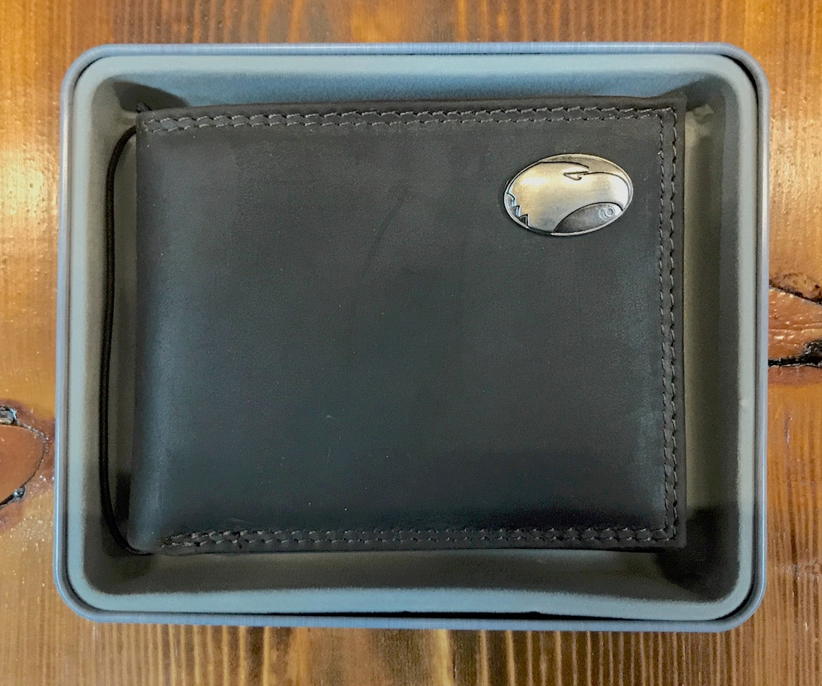 Bill Fold Pass Case Wallet - Leather with Metal Concho