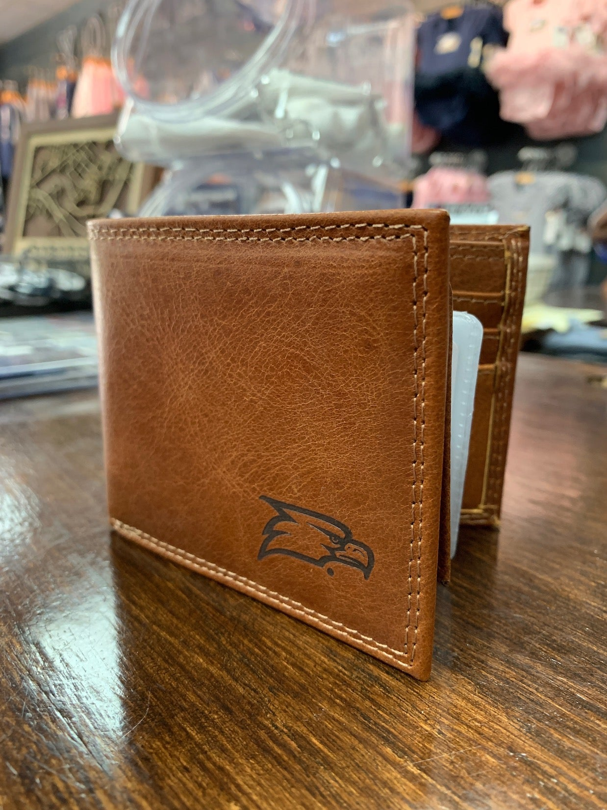 Billfold Wallet - Tan Leather with Embossed Logo