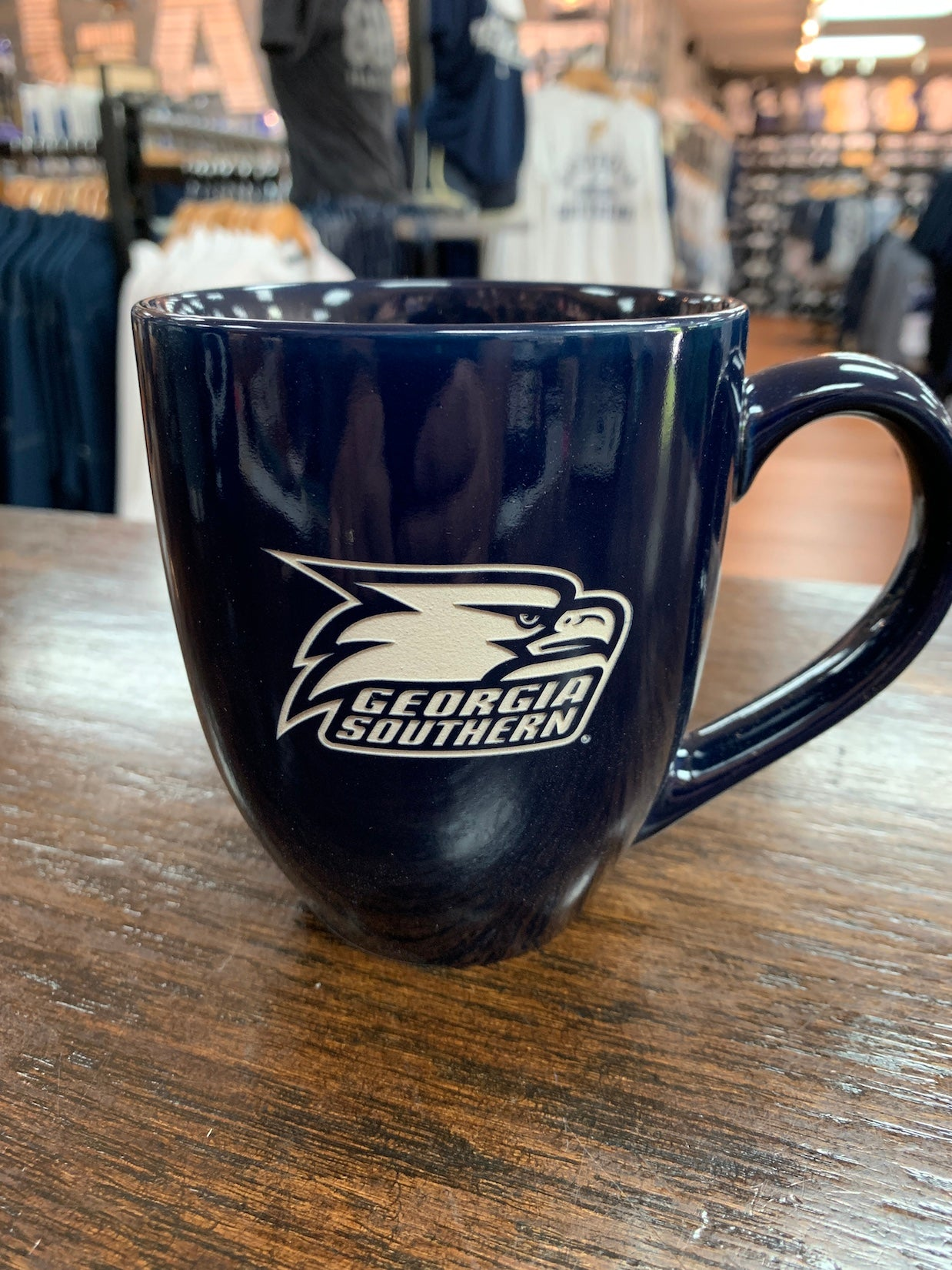 Etched Ceramic Coffee Mug - Navy Athletic Eagle Head