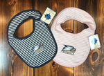 Striped Bib With Snap Closure - Pink or Navy