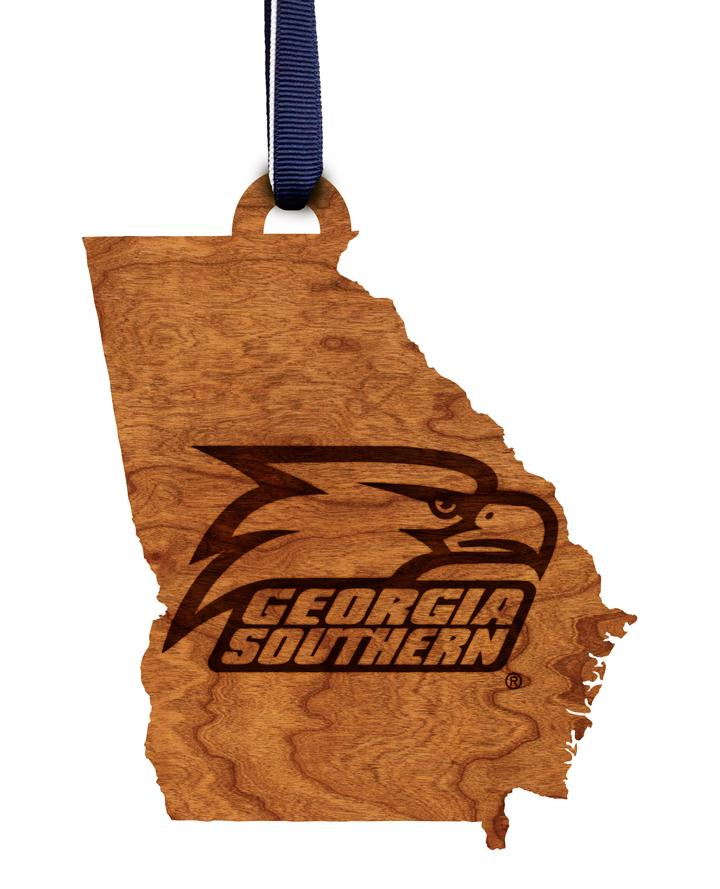 Athletic Eagle State Wood Cut Ornament