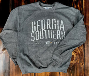 Georgia Southern Distressed Crew Sweatshirt - Heather Grey