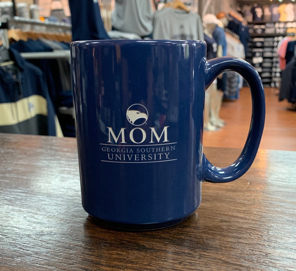 MOM Etched Ceramic Coffee Mug - NAVY