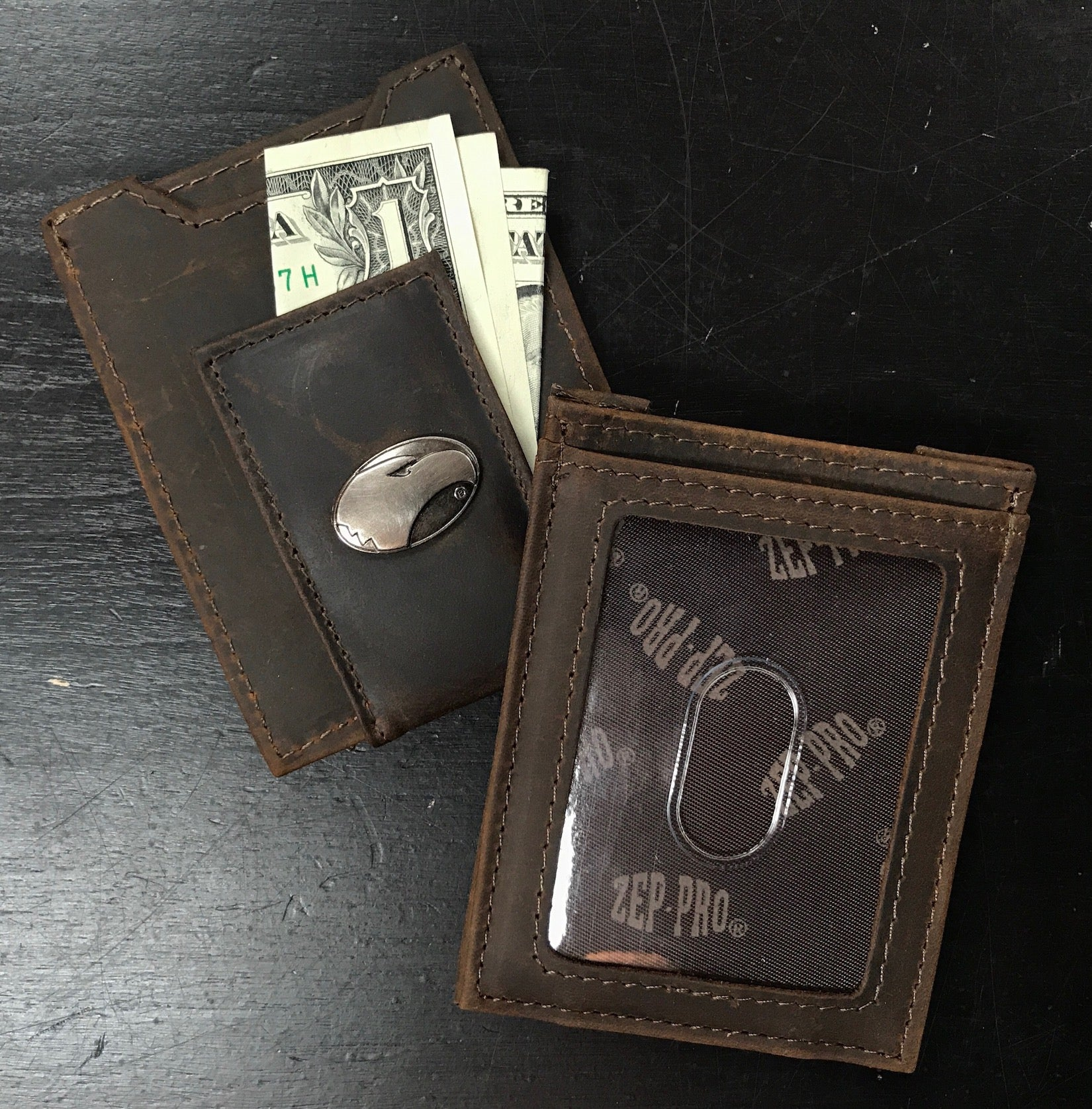 Front Pocket Wallet - Leather with Metal Concho