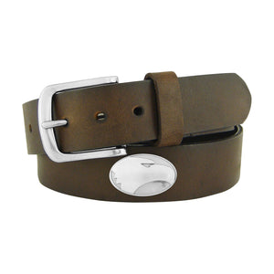 Leather Belt - Brown with Metal Conchos