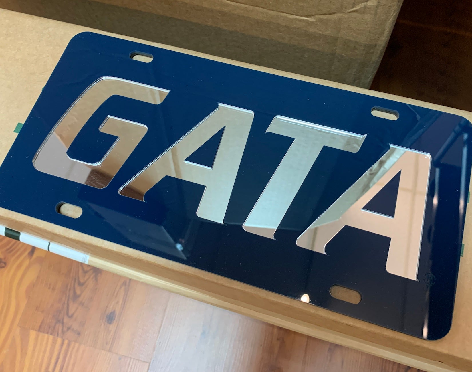 GATA Reflective Laser Cut License Plate - NAVY