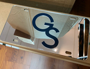 Interlocking GS Reflective Laser Cut License Plate - SILVER