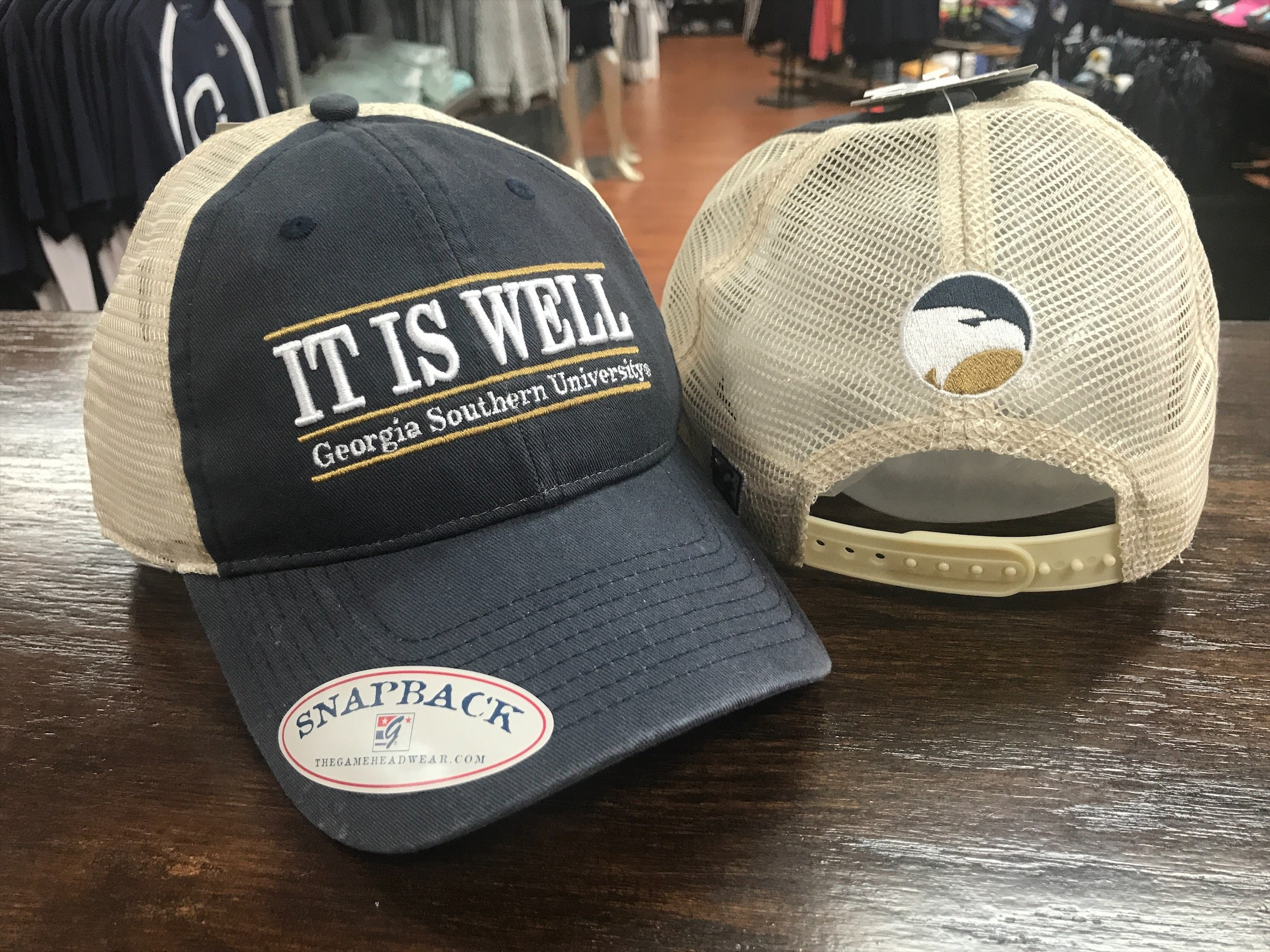IT IS WELL Classic Bar Design - Blue and Tan Trucker Cap