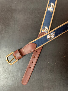 Web Belt - Woven Khaki and Ribbon Navy