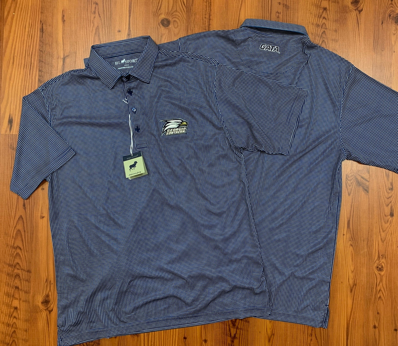 HORN LEGEND - Check Pattern Embroidered Logo - Performance Polo