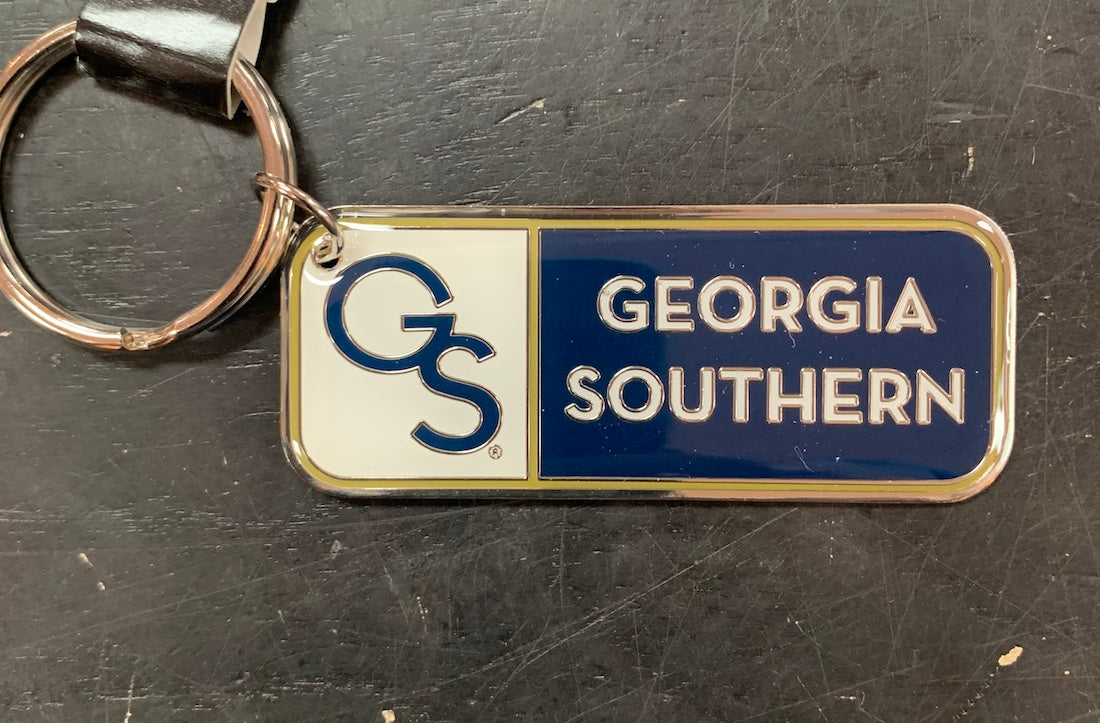 Nickel Finish Brass Key Chain - GS Georgia Southern