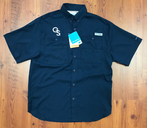 Columbia Tamiami Interlocking GS PFG Omni-Shade Short Sleeve Navy