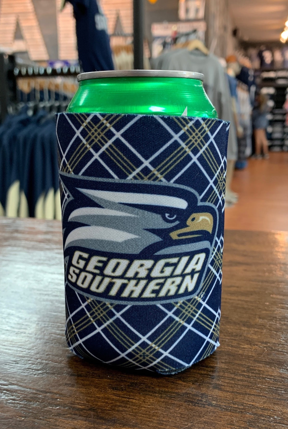 Can Koozie - Athletic Eagle Logo - Plaid