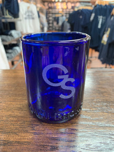 Recycled Etched Wine Bottle Tumbler - Cobalt Blue
