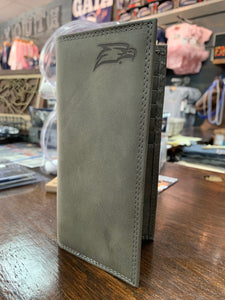 Roper Wallet - Grey Leather with Embossed Logo
