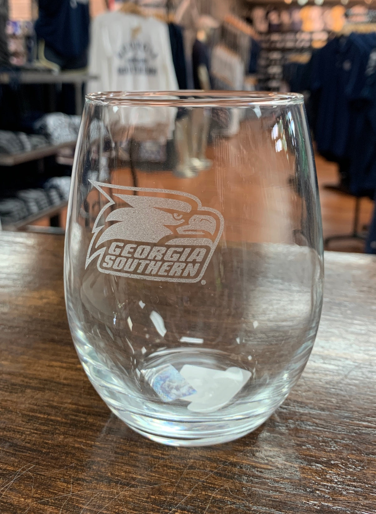 20oz. Etched Stemless Wine Glass - Athletic Eagle Logo