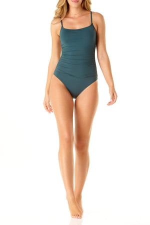 ANNE COLE  SHIRRED LINGERIE ONE PIECE