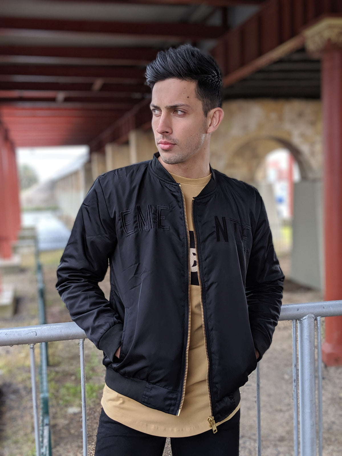 EMENTE BLACK BOMBER JACKET