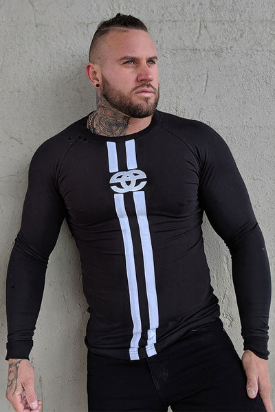 EMENTE BLACK LONG SLEEVE STRIPE TEE