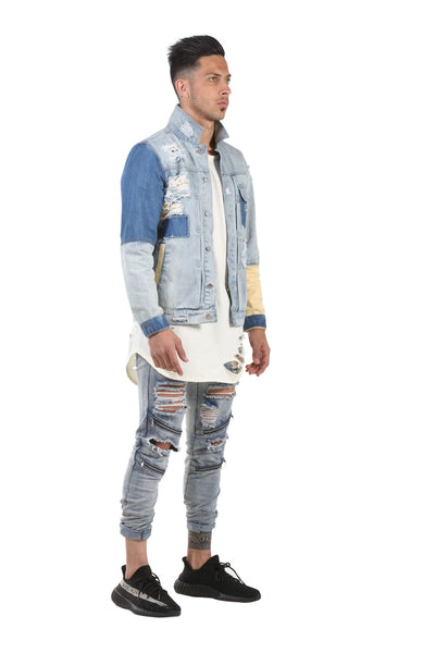 EMENTE 3 TONED CUSTOM LIGHT WASH DENIM JACKET