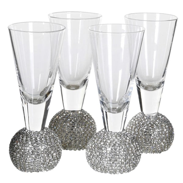 Silver Diamante Shot Glasses