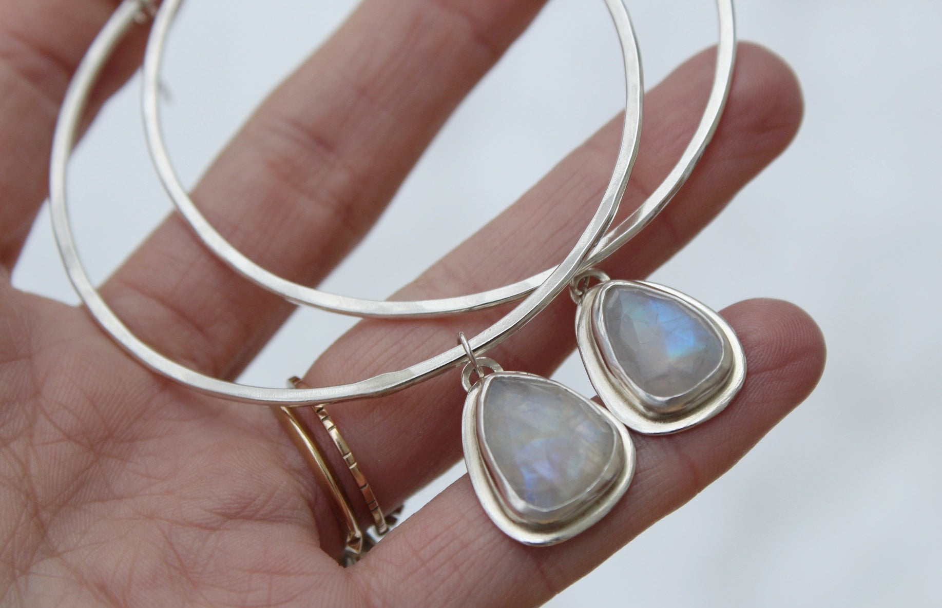Rainbow Moonstone Hoops #24