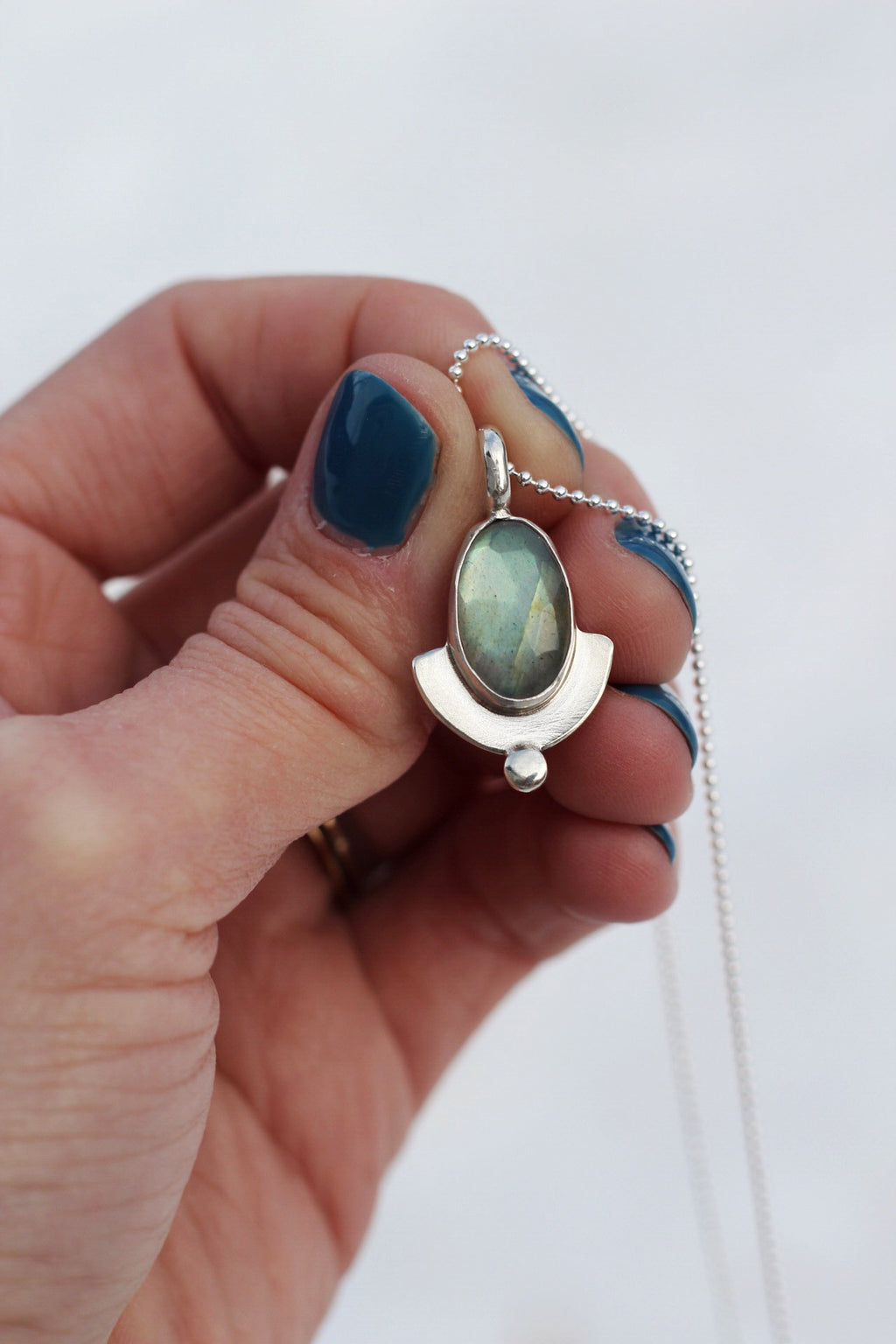 Faceted Labradorite + Sterling Dot Necklace