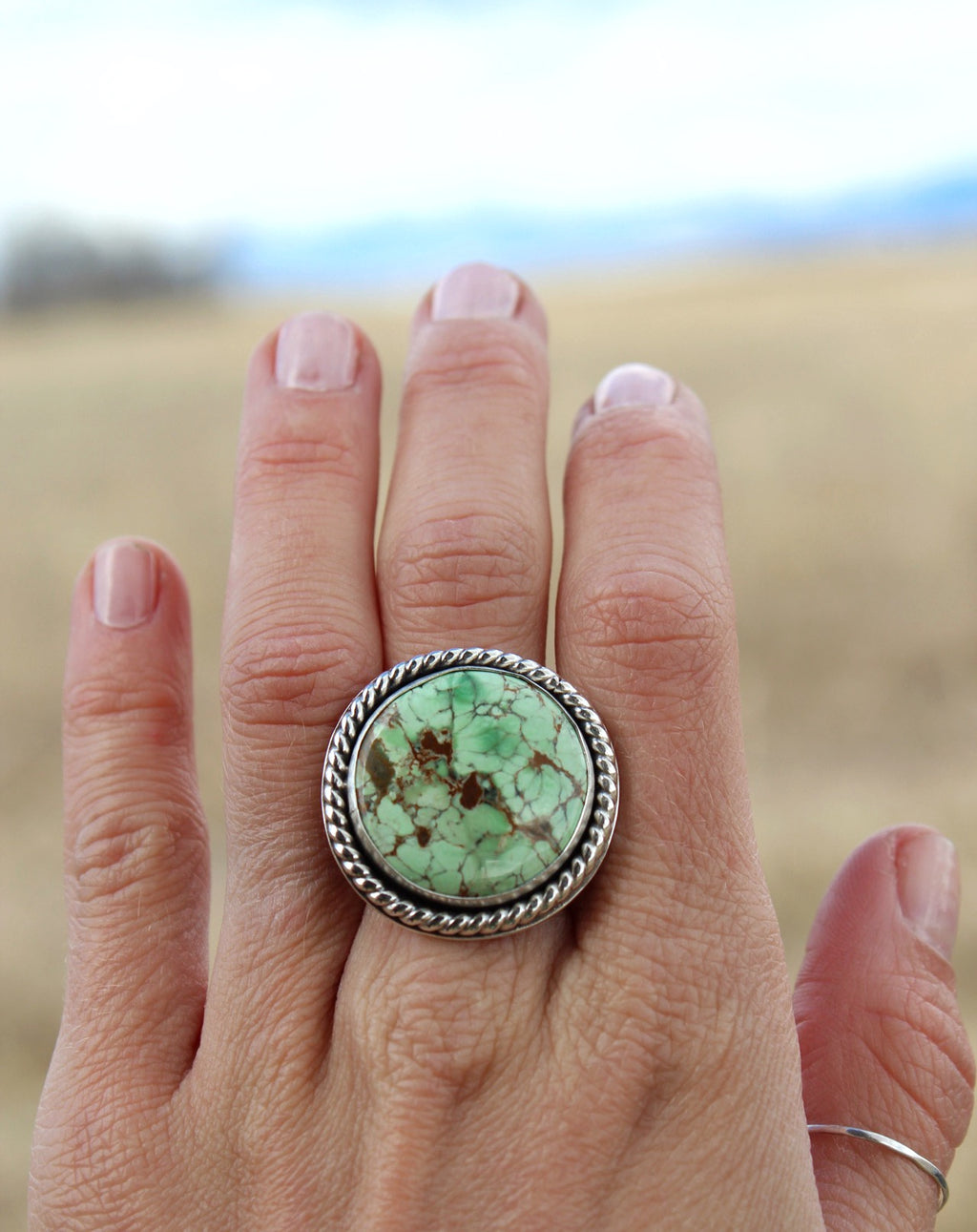 Australian Variscite Stamped Band Statement Ring