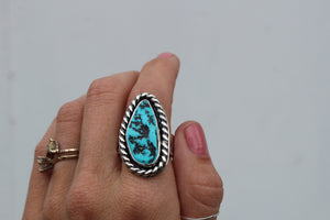 Kingman Turquoise Nugget Stamped Band Statement Ring