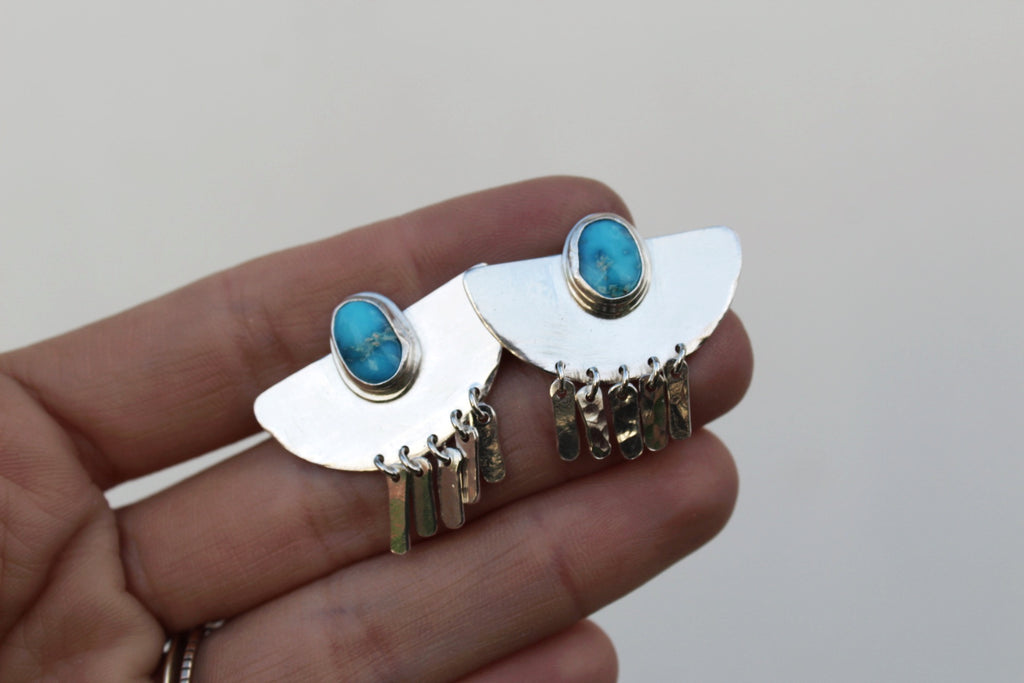 Sterling Silver Fringe Earrings- Royston Turquoise