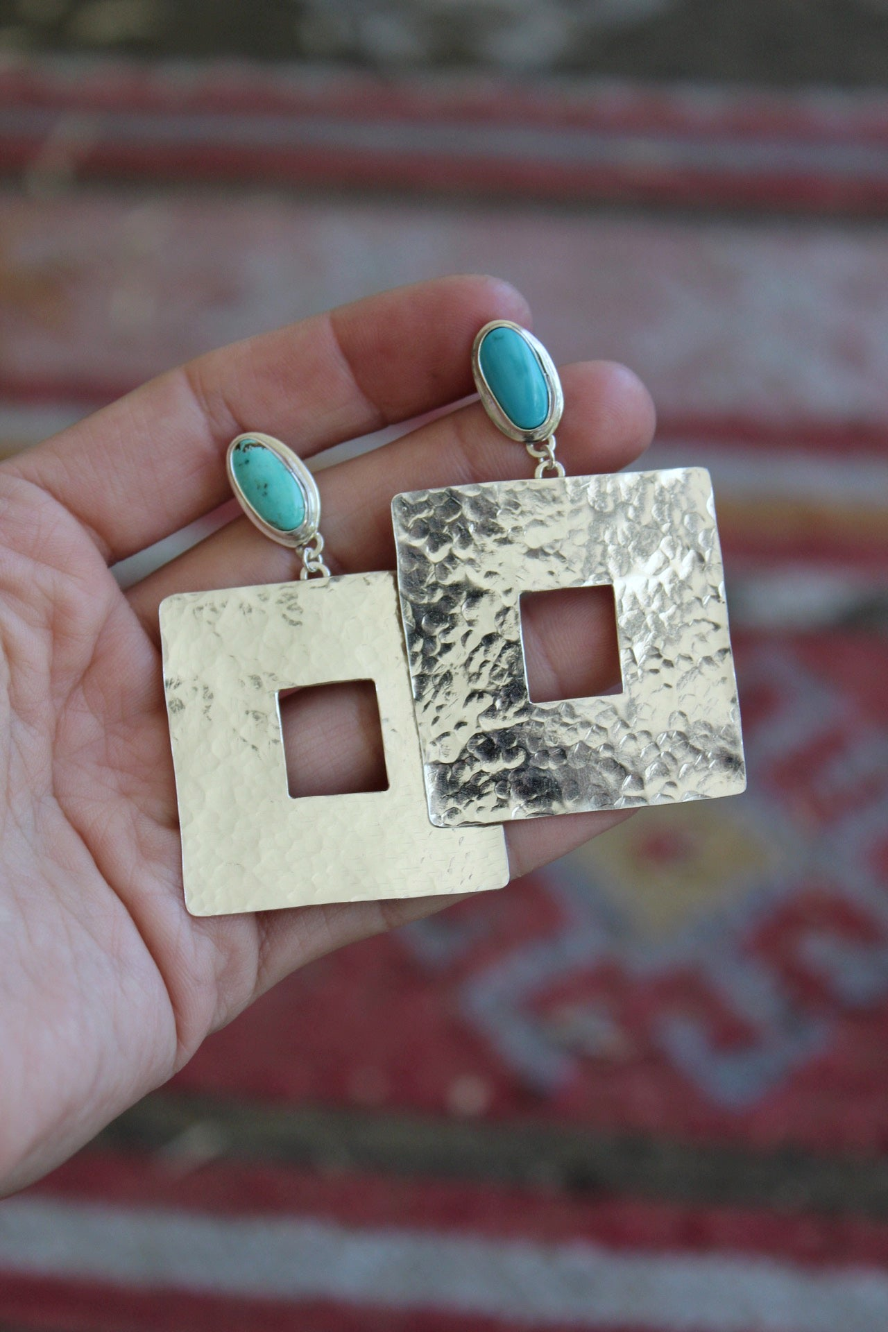 Textured Rectangle Stud Earrings #3
