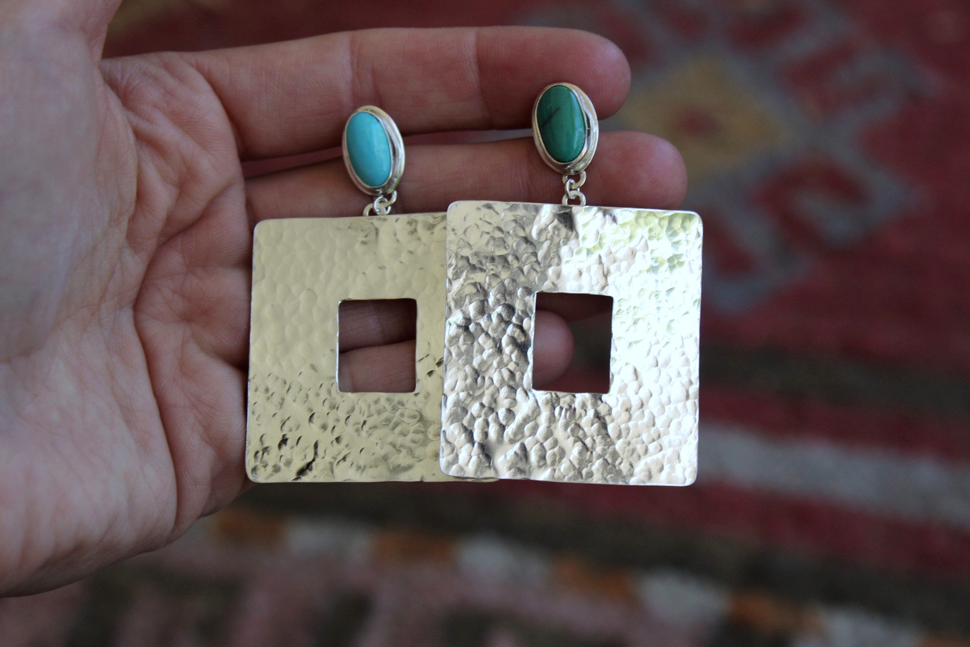 Textured Rectangle Stud Earrings #4