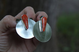 Brushed Silver Disc Studs- #2