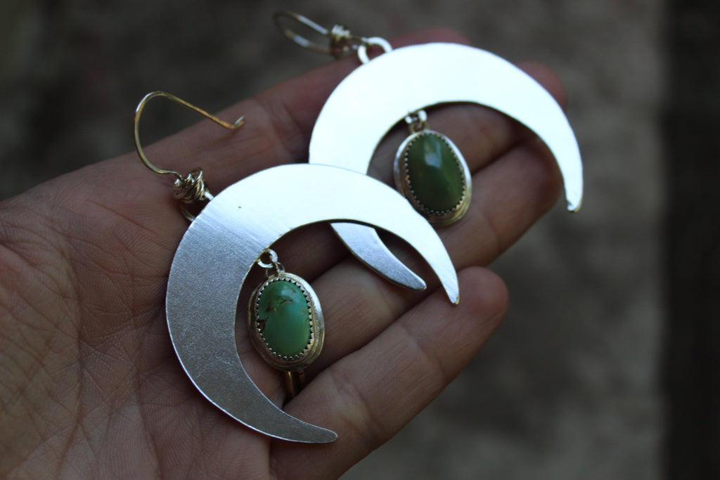 Crescent Moon Earrings 5- Royston Turquoise