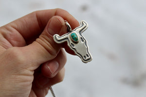Turquoise Bull Skull Necklace #2