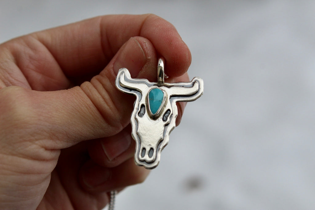 Turquoise Bull Skull Necklace #3