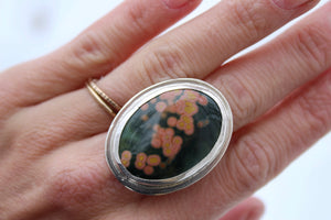 Ocean Jasper Wide Band Statement Ring #3