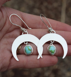 Crescent Moon Earrings 3- Sonoran Gold Turquoise