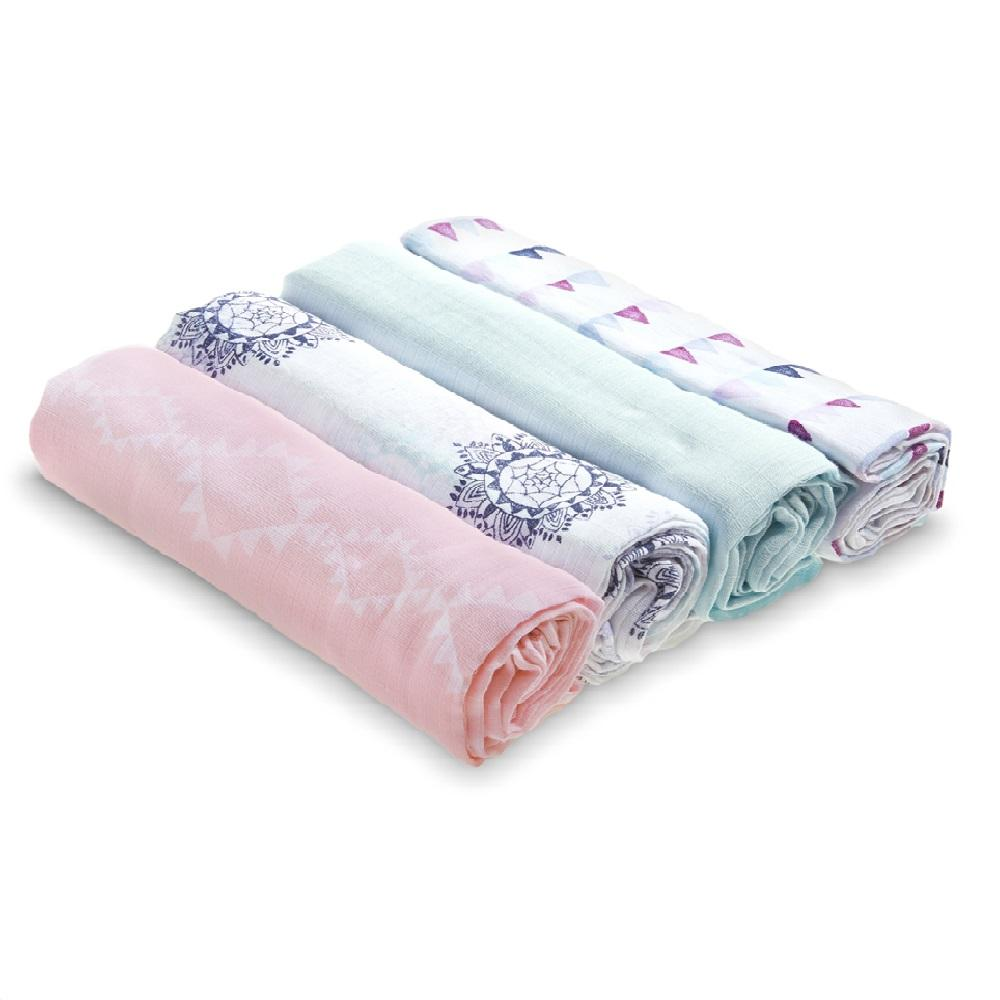 Aden by Aden + Anais 4-pack Swaddle Plus – Pretty Pink
