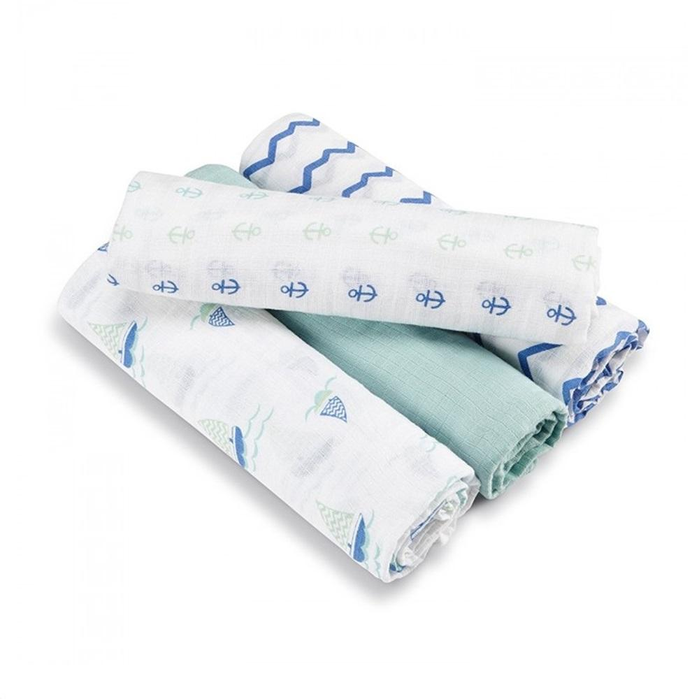 Aden by Aden + Anais 4-pack Swaddle Plus – Sailing Sea