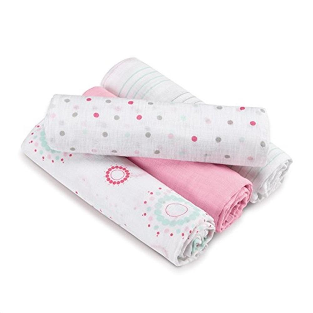 Aden by Aden + Anais 4-pack Swaddle Plus – Sweet in Pink