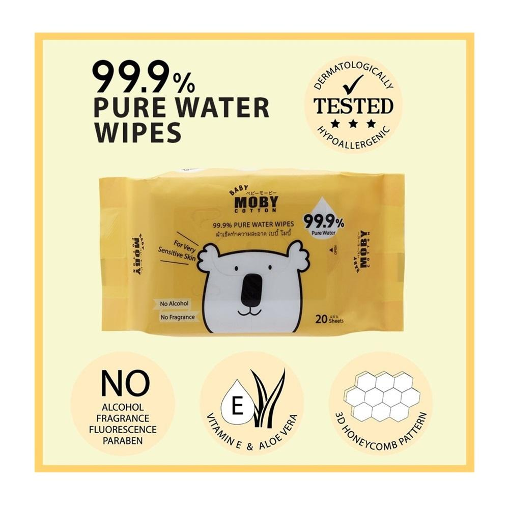 Baby Moby 99.9% Pure Water Wipes - 20 sheets