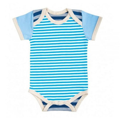 Farm Boy Onesie – Blue & Gray Stripes
