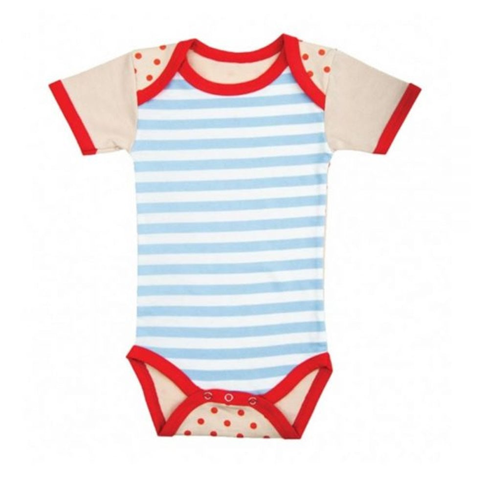 Farm Boy Onesie – Blue Stripes w/ Red Dots