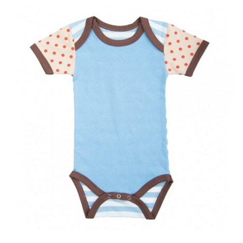 Farm Boy Onesie – Solid Blue w/ Red Dots