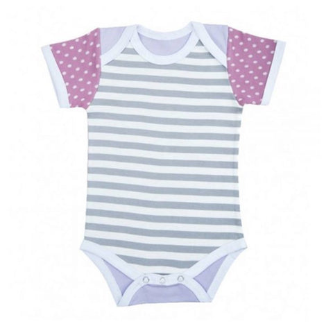 Farm Girl Onesie – Gray Stripes & Purple Polka Dots