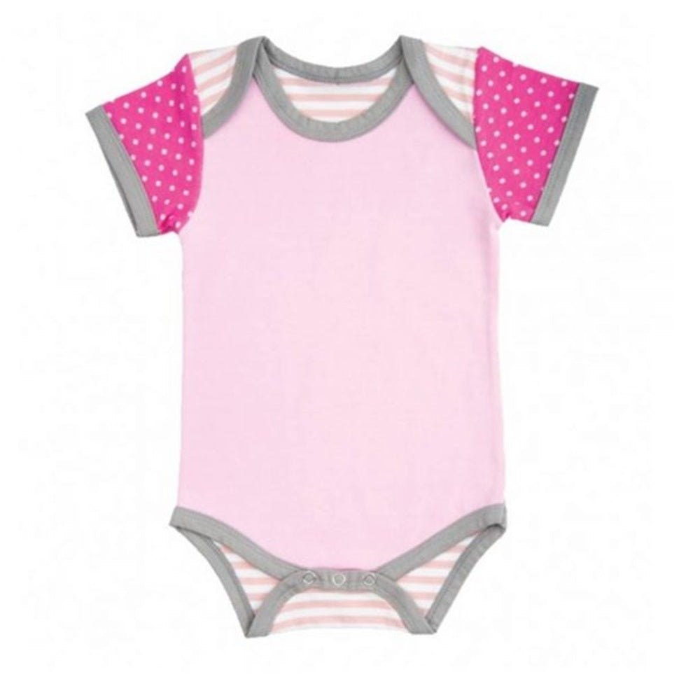 Farm Girl Onesie – Pink Polka Dots & Stripes