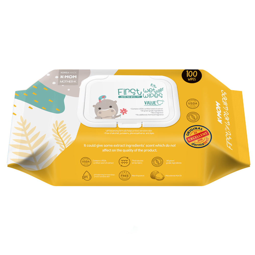 K-MOM Organic wet wipes Beemot with Flower (100 pcs.)