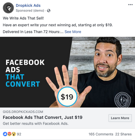 Facebook Ad Size Standard