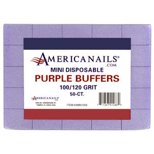 Americanails Mini Disposable Purple Buffers (100/120 Grit) 50ct